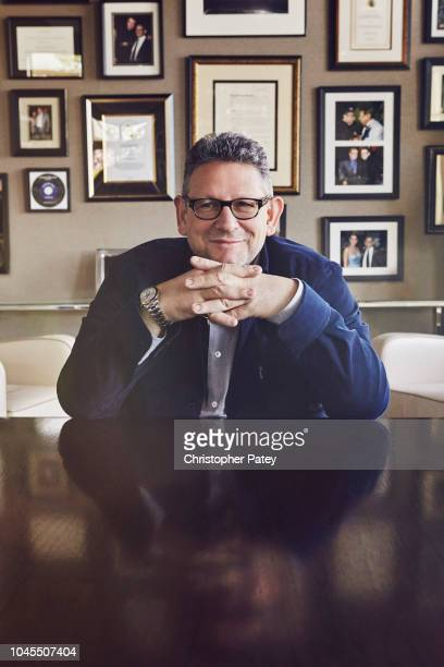Chairman and chief executive officer of Universal Music Group Lucian Grainge is photographed for Billboard Magazine on January 26 2016 in Los Angeles...