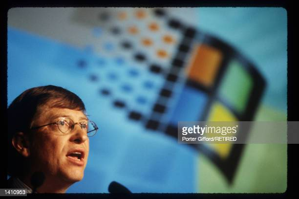 Chairman and Chief Software Architect of Microsoft Corporation Bill Gates speaks at an Antitrust press conference May 5 1998 in New York City Gates...