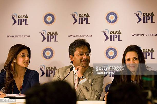 Chairman and Commissioner of IPL Mr Lalit Modi owner of Rajasthan Royals team Shilpa Shetty and Owner of Kings XI Punjab Preity Zinta attend the...
