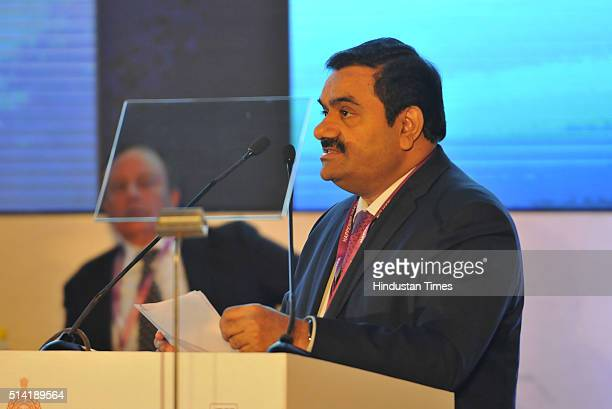 Chairman and Founder of Adani Group Gautam Adani addressing the Happening Haryana Global Investors Summit at Leela Hotel on March 7 2016 in Gurgaon...