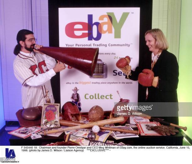 Chairman and founder Pierre Omidyar and CEO Meg Whitman of EBaycom the online auction service California June 15 1998