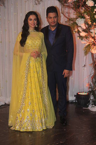 Chairman and Managing Director of Super Cassettes Industries Limited Bhushan Kumar and his wife Divya Khosla Kumar at wedding reception of couple...
