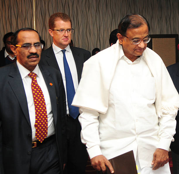 Chairman and MD Punjab National Bank K R Kamath and Christopher Townsend President Asia Met Life Inc along with Finance Minister P Chidambaram at PNB.