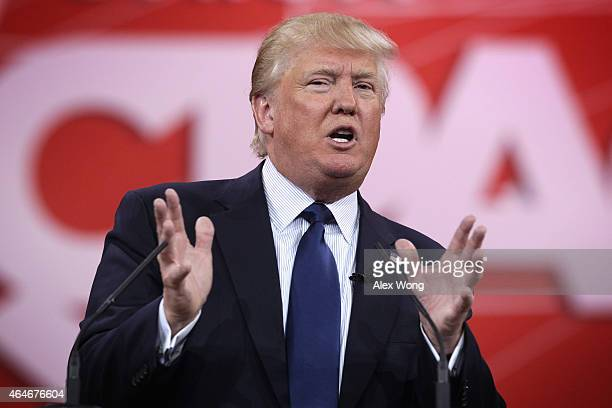 Chairman and president of the Trump Organization Donald Trump addresses the 42nd annual Conservative Political Action Conference February 27 2015 in...