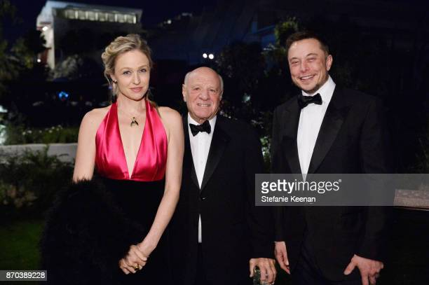 Chairman and Senior Executive IAC Chairman and Senior Executive Expedia Inc Barry Diller and CEO of SpaceX Elon Musk and a guest attend the 2017...