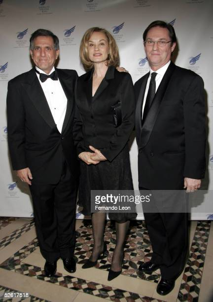 CBS chairman and Viacom CEO Leslie Moonves actress Jessica Lange and actor Richard Thomas arrive at the American Theater Wing Annual Dinner and...