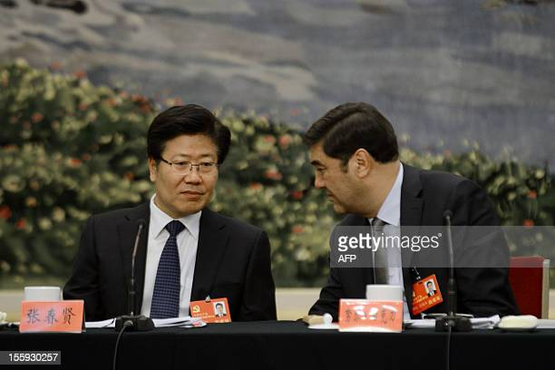 Chairman and Vice Secretary of the Party Committee of Xinjiang Uygur Autonomous Region, Nur Bekri , talks with Communist Party Secretary of Xinjiang...