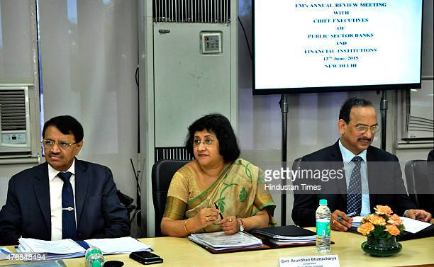 Chairman Arundhati Bhattacharya along with IDBI Bank CMD MS Raghavan and UCO Bank CMD Arun Kaul during the meeting to review the annual performance...