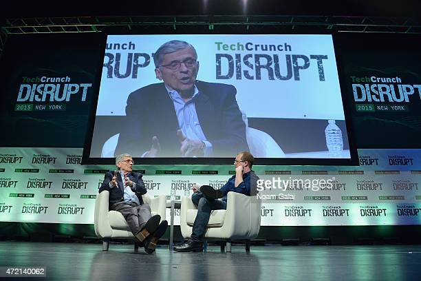 Chairman at the Federal Communications Commission Tom Wheeler and writer for TechCrunch Alex Wilhelm appear onstage during TechCrunch Disrupt NY 2015...