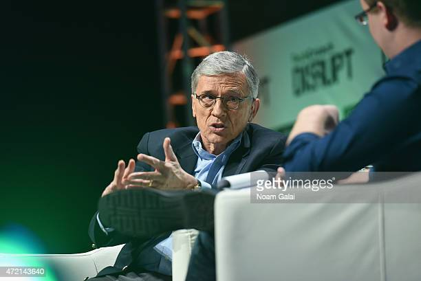 Chairman at the Federal Communications Commission Tom Wheeler speaks onstage during TechCrunch Disrupt NY 2015 Day 1 at The Manhattan Center on May 4...