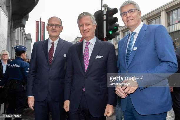 Chairman Bart De Smet King Philippe of Belgium and FEB CEO Baron Pieter Timmermans attend the 125th anniversary celebration of the Federation of...