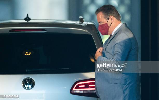 Chairman Bart De Wever pictured ahead of a meeting with the King at the Royal Palace in Brussels, Monday 17 August 2020, regarding the formation of a...