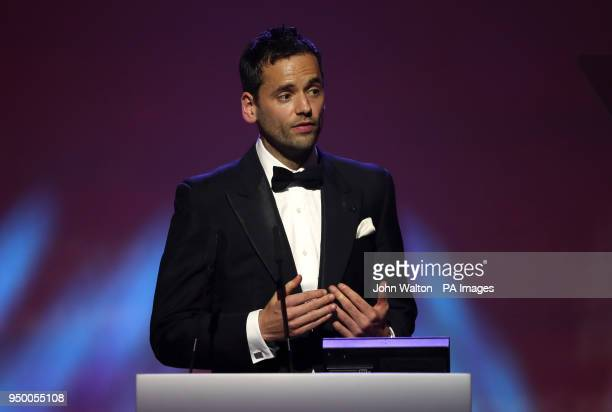 PFA chairman Ben Purkiss on stage during the 2018 PFA Awards at the Grosvenor House Hotel London