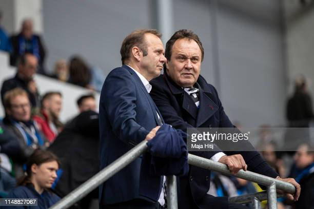 Chairman Bernd Hoffmann of Hamburger SV and Chairman of the supervisory board Max-Arnold Koettgen of Hamburger SV looks on prior to the Second...