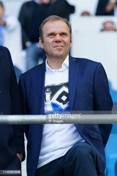 Chairman Bernd Hoffmann of Hamburger SV looks on prior to the Second Bundesliga match between SC Paderborn 07 and Hamburger SV at Benteler Arena on...