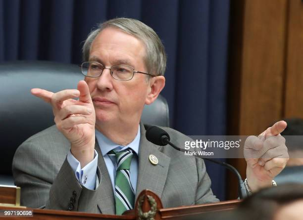 Chairman Bob Goodlatte gestures while Deputy Assistant FBI Director Peter Strzok testifies to a joint committee hearing of the House Judiciary and...
