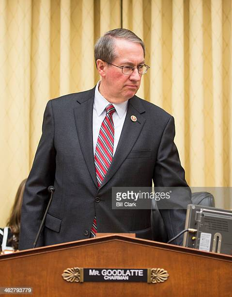 Chairman Bob Goodlatte RVa arrives for the House Judiciary Committee mark up hearing on the No Taxpayer Funding for Abortion Act on Wednesday Jan 15...