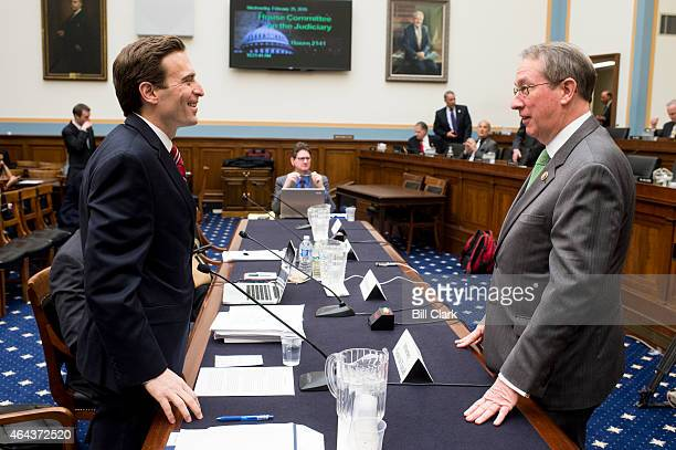 Chairman Bob Goodlatte RVa right speaks with witness Attorney General of Nevada Adam Laxalt before the start of the House Judiciary Committee hearing...