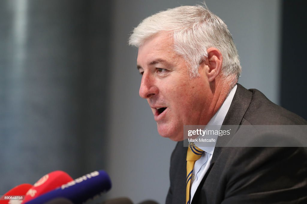 ARU chairman Cameron Clyne speaks during a press conference at the Rugby Australia Building on December 12, 2017 in Sydney, Australia.