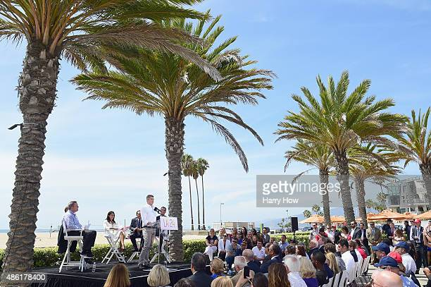 Chairman Casey Wasserman speaks at a press conference to officially launch a Los Angeles 2024 Olympic and Paralympic games bid at Annenberg Beach...