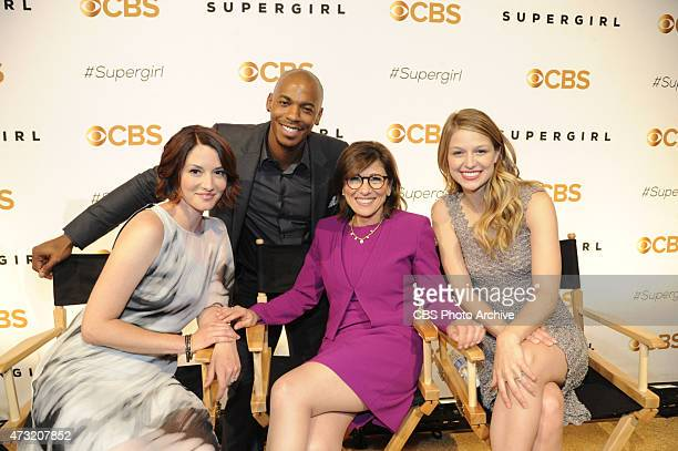 Chairman CBS Entertainment Nina Tassler with the cast from the new CBS drama SUPERGIRl Chyler Leigh Mehcad Brooks Chairman CBS Entertainment Nina...