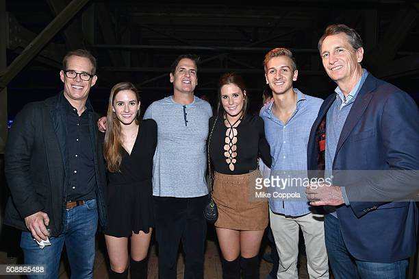 Chairman CEO and President Mark Cuban poses with TV/radio personality Joe Buck Trudy Buck Natalie Buck Jac Collinsworth and TV personality/retired...