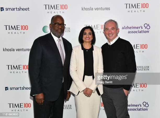 Chairman CEO at Kaiser Permanente Bernard J Tyson Administrator at Centers for Medicare Medicaid Seema Verma and Dr David Agus arrive at the TIME 100...
