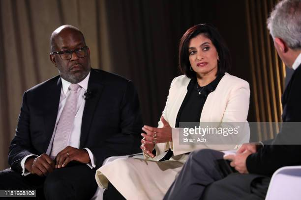 Chairman CEO at Kaiser Permanente Bernard J Tyson and Administrator at Centers for Medicare Medicaid Seema Verma speak onstage during the TIME 100...