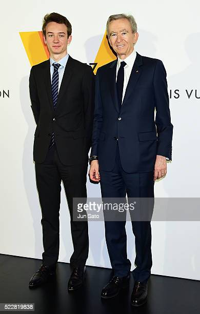 Chairman Ceo Bernard Arnault and Frederic Arnault attend the Louis Vuitton Exhibition Volez Voguez Voyagez on April 21 2016 in Tokyo Japan