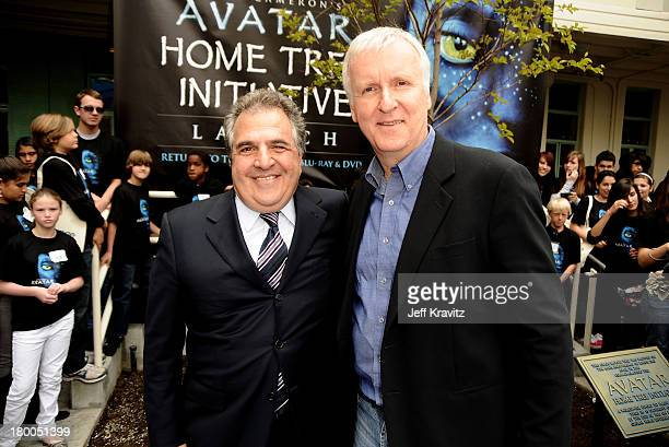 Chairman CEO Fox Film Entertainment Jim Gianopulos and director James Cameron plant first tree in North America symbolizing the one million tree...