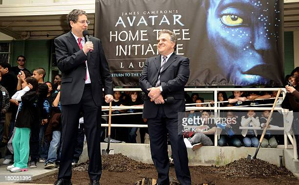 Chairman CEO Fox Film Entertainment Tom Rothman and Chairman CEO Fox Film Entertainment Jim Gianopulos plants first tree in North America symbolizing...
