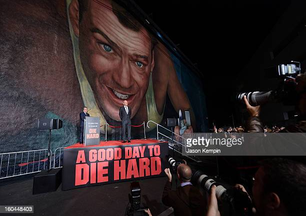 Chairman CEO of Fox Filmed Entertainment Jim Gianopulos and actor Bruce Willis attend the Twentieth Century Fox Celebrates 25 Years Of Die Hard event...