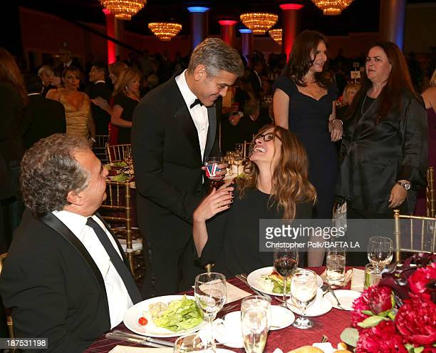 Chairman CEO of Fox Films Jim Gianopulos filmmaker George Clooney actresses Julia Roberts Rochelle Rose and Jacquie Barnbrook attend the 2013 BAFTA...