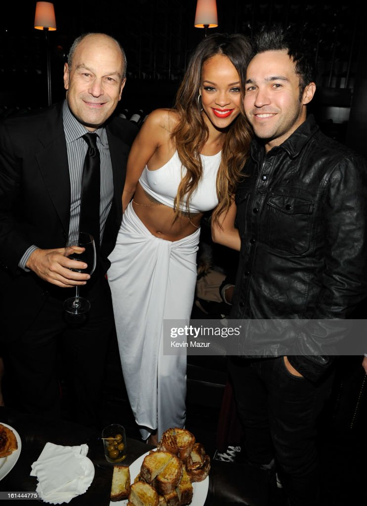 Chairman & CEO of Island Def Jam and Universal Motown Republic Group Barry Weiss, Rihanna and Pete Wentz attend the Island Def Jam Grammy Party Sponsored By Samsung And Pepsi at Osteria Mozza on February 10, 2013 in Los Angeles, California.