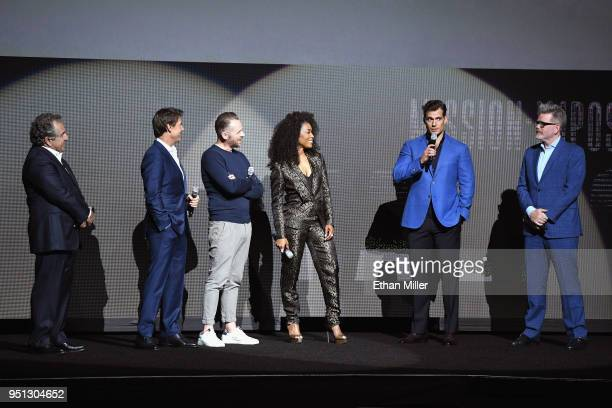 Chairman CEO Paramount Pictures Jim Gianopulos actors Tom Cruise Simon Pegg Angela Bassett Henry Cavill and director/writer/producer Christopher...