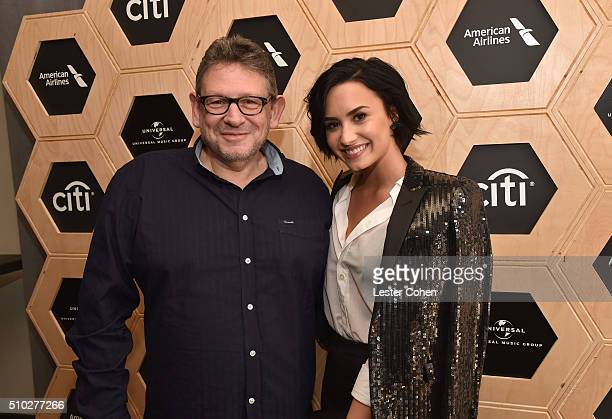 Chairman CEO UMG Lucian Grainge and singer Demi Lovato attend Lucian Grainge's 2016 Artist Showcase Presented by American Airlines and Citi at The...