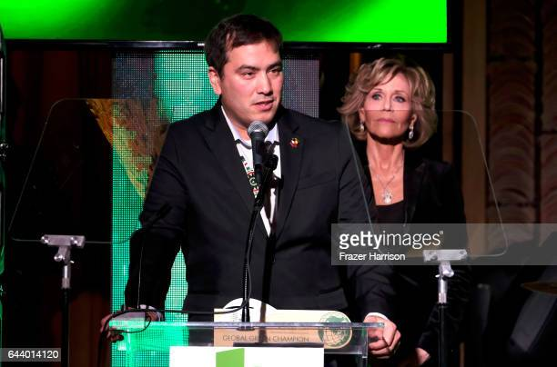 Chairman Chad Harrison and actress Jane Fonda speak onstage during the 14th Annual Global Green Pre Oscar Party at TAO Hollywood on February 22 2017...