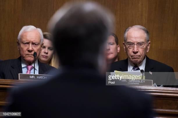 Chairman Charles Grassley RIowa and Sen Orrin Hatch RUtah listen to Judge Brett Kavanaugh during the Senate Judiciary Committee hearing on his...