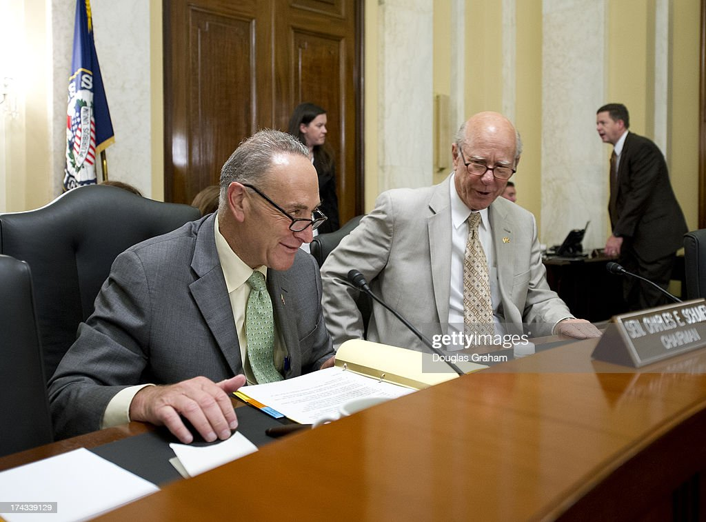 Chairman Charles Schumer, D-NY., and Ranking Member Pat Robert, R-KS., during the Rules & Administration Committee's business meeting to consider S.375, to require Senate candidates to file designations, statements and reports in electronic form, and also followed by a hearing for the nomination of Davita Vance-Cooks, of Virginia, to be Public Printer, GPO and FEC nominations of California regulator Ann Ravel and Virginia lawyer Lee Goodman on July 24, 2013.
