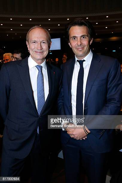 Chairman Chief Executive Officer of L'Oreal Chairman of the L'Oreal Foundation JeanPaul Agon and Yannick Bollore attend the 'L'OrealUNESCO Awards...