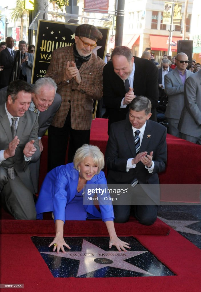 Chairman Christopher Barton, Councilman Tom LaBonge, writer David Mamet, diector Jon Turtletaub, actress Helen Mirren and WOF CEO Leron Gublerparticipate in Helen Mirren Star ceremony on The Hollywood Walk Of Fame on January 3, 2013 in Hollywood, California.