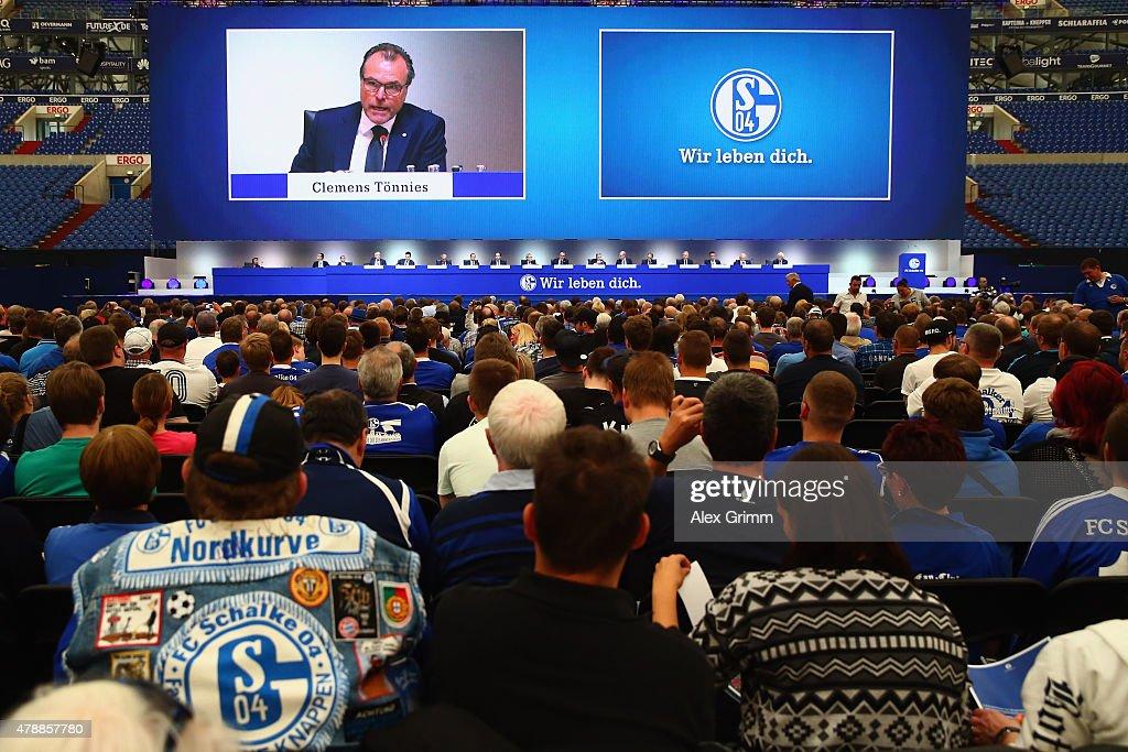 Chairman Clemens Toennies addresses the general assembly of FC Schalke 04 at Veltins-Arena on June 28, 2015 in Gelsenkirchen, Germany.