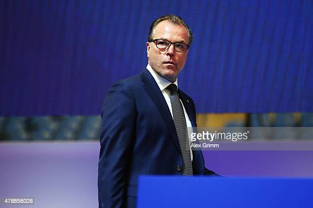 Chairman Clemens Toennies arrives for the general assembly of FC Schalke 04 at VeltinsArena on June 28 2015 in Gelsenkirchen Germany