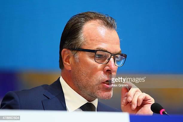 Chairman Clemens Toennies attends the general assembly of FC Schalke 04 at VeltinsArena on June 28 2015 in Gelsenkirchen Germany