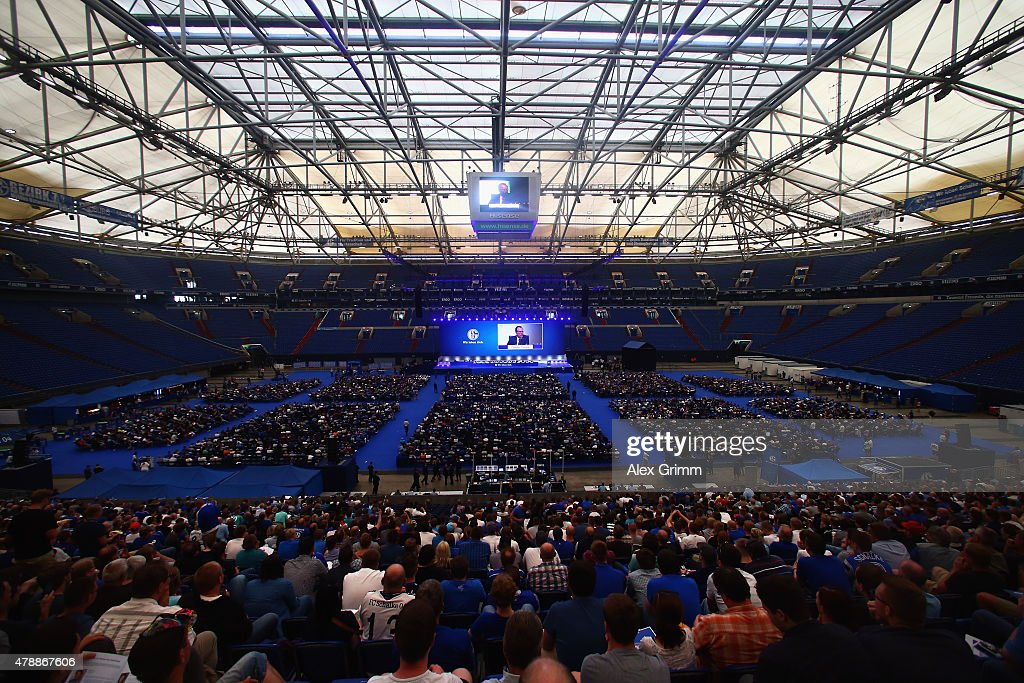 Chairman Clemens Toennies delivers his speech during the general assembly of FC Schalke 04 at Veltins-Arena on June 28, 2015 in Gelsenkirchen, Germany.