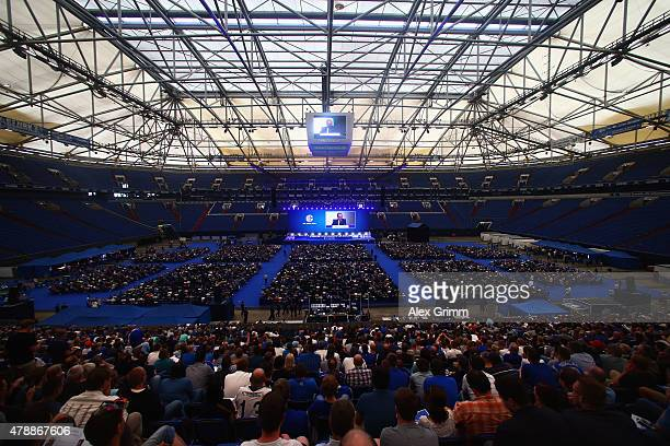 Chairman Clemens Toennies delivers his speech during the general assembly of FC Schalke 04 at VeltinsArena on June 28 2015 in Gelsenkirchen Germany