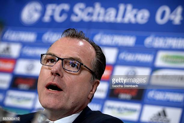 Chairman Clemens Toennies of FC Schalke 04 speaks to the media during a press conference at VeltinsArena on May 18 2016 in Gelsenkirchen Germany