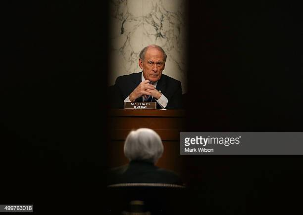 Chairman Dan Coats listens to Federal Reserve Chairman Janet Yellen testify during a Joint Economic Committee hearing on Capitol Hill December 3 2015...