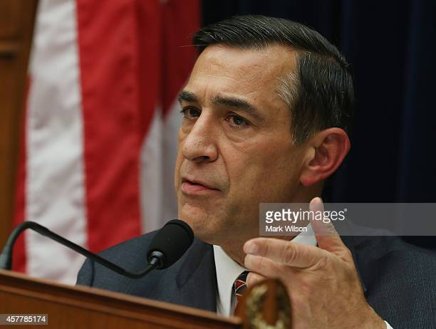 Chairman Darrell Issa speaks during a House Oversight and Government Reform Committee hearing on Capitol Hill October 24 2014 in Washington DC The...