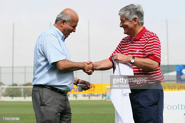 Chairman David Bernstein and Israeli FA Chairman Avi Luzon attend an England training with local school children on June 9 2013 in Netanya Israel